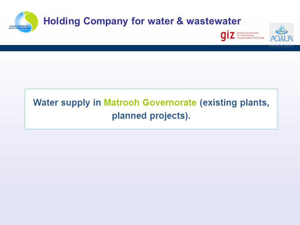 Water supply in Matrooh Governorate (existing plants, planned projects).