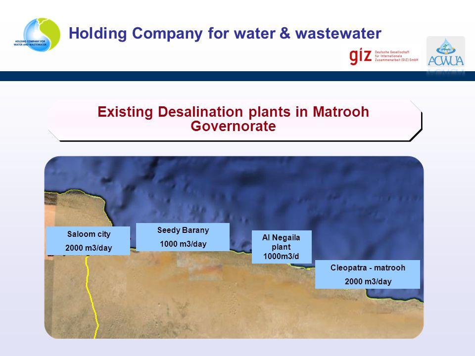 Existing Desalination plants in Matrooh Governorate