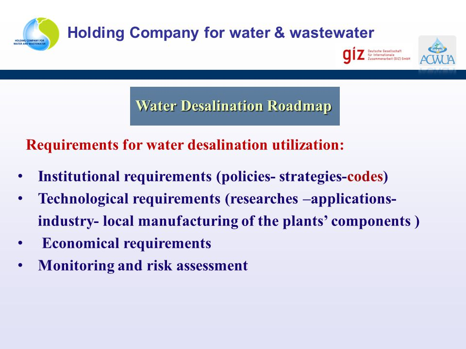 Water Desalination Roadmap