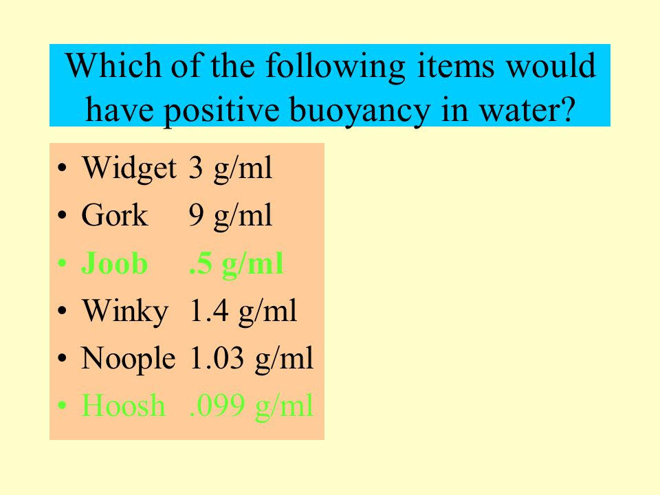 Which of the following items would have positive buoyancy in water