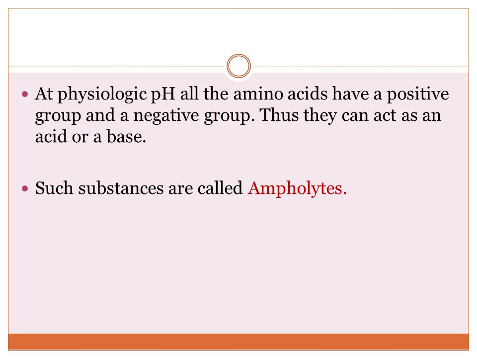 At physiologic pH all the amino acids have a positive group and a negative group. Thus they can act as an acid or a base.