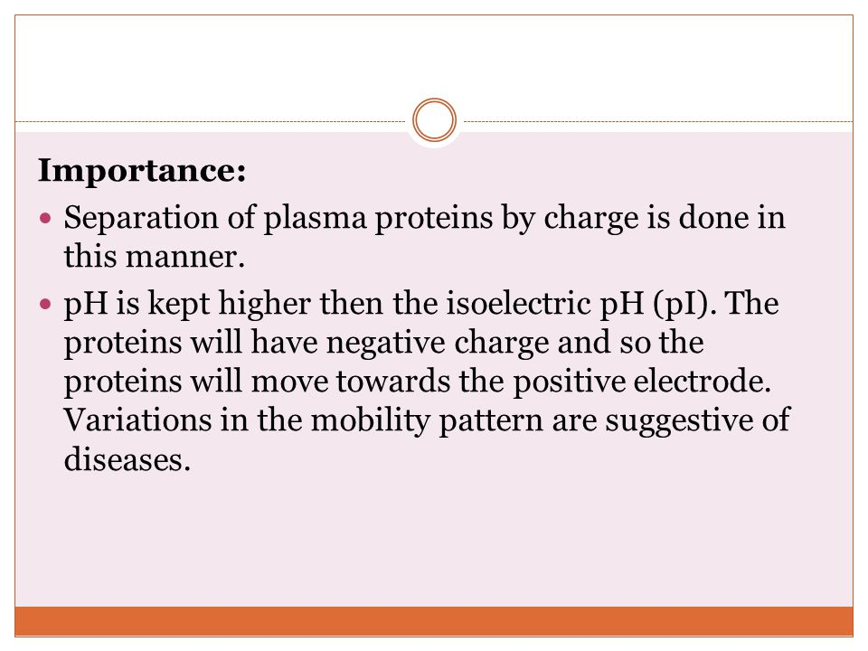Importance: Separation of plasma proteins by charge is done in this manner.