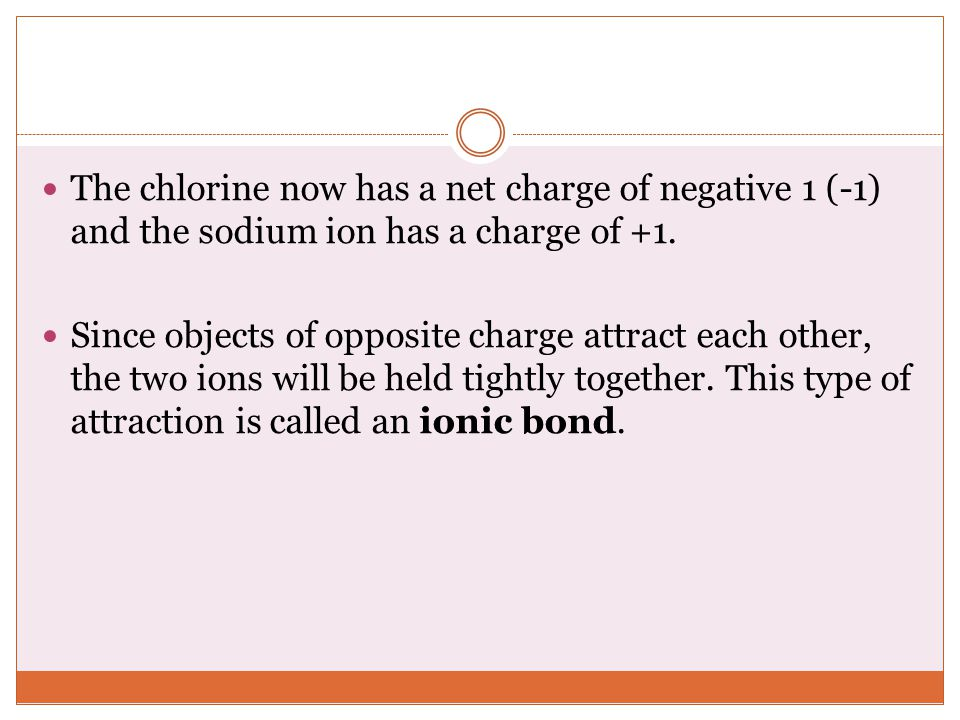 The chlorine now has a net charge of negative 1 (-1) and the sodium ion has a charge of +1.
