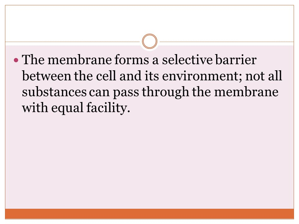 The membrane forms a selective barrier between the cell and its environment; not all substances can pass through the membrane with equal facility.