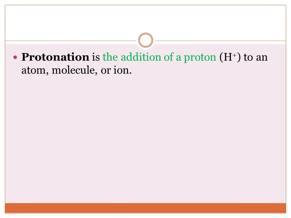 Protonation is the addition of a proton (H+) to an atom, molecule, or ion.