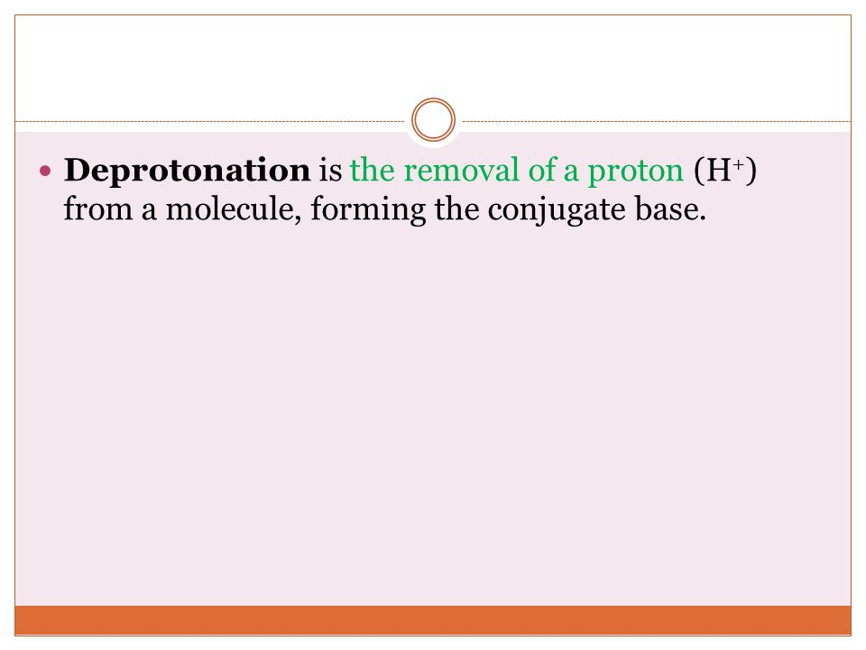 Deprotonation is the removal of a proton (H+) from a molecule, forming the conjugate base.