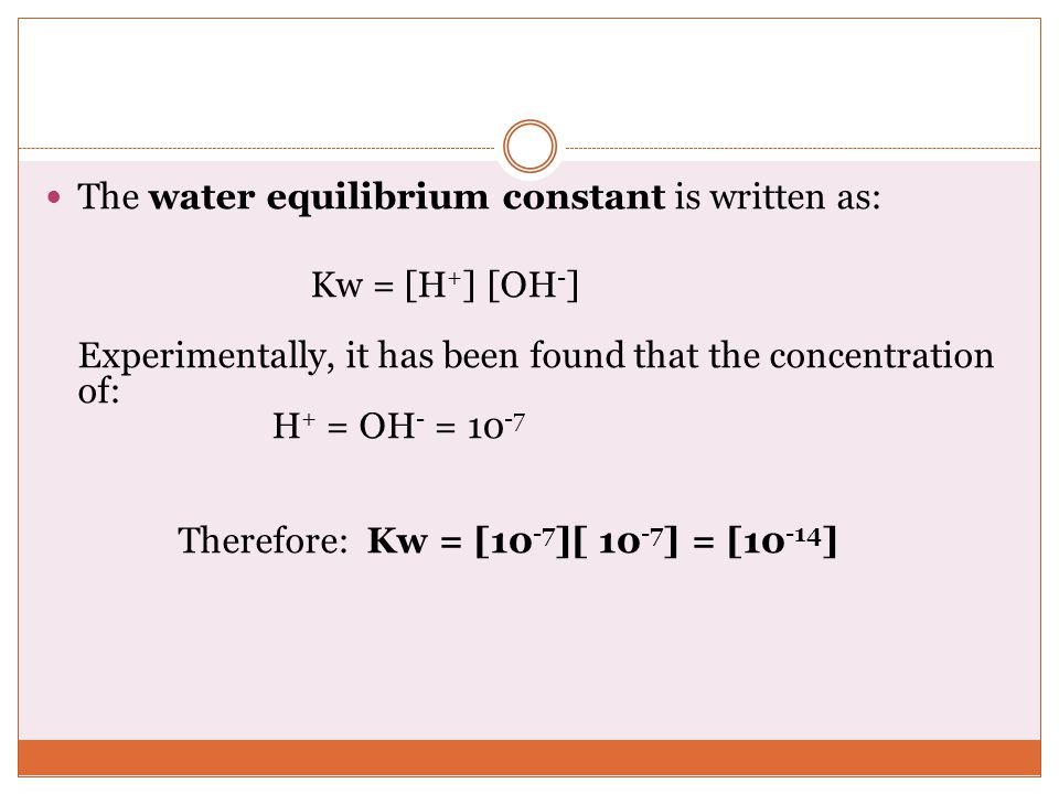 The water equilibrium constant is written as: