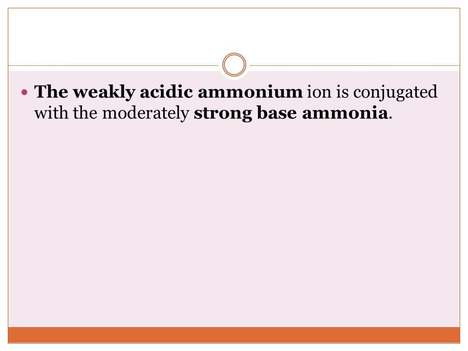 The weakly acidic ammonium ion is conjugated with the moderately strong base ammonia.