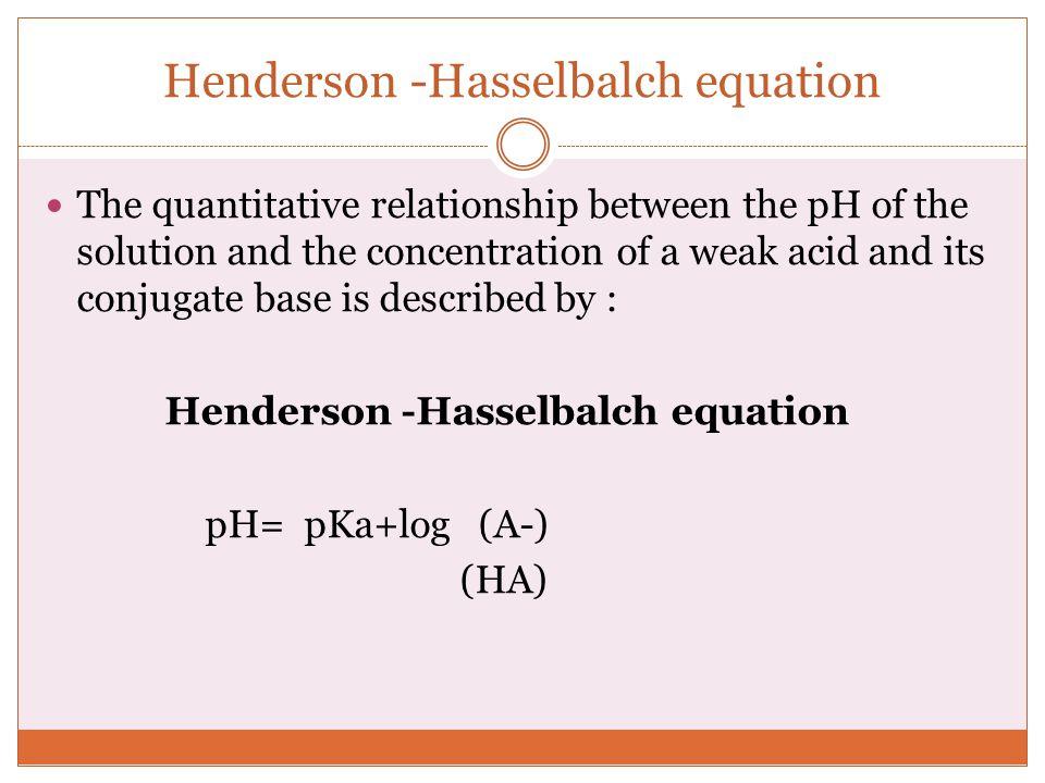 Henderson -Hasselbalch equation