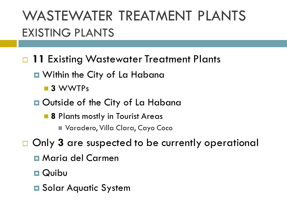 WASTEWATER TREATMENT PLANTS EXISTING PLANTS