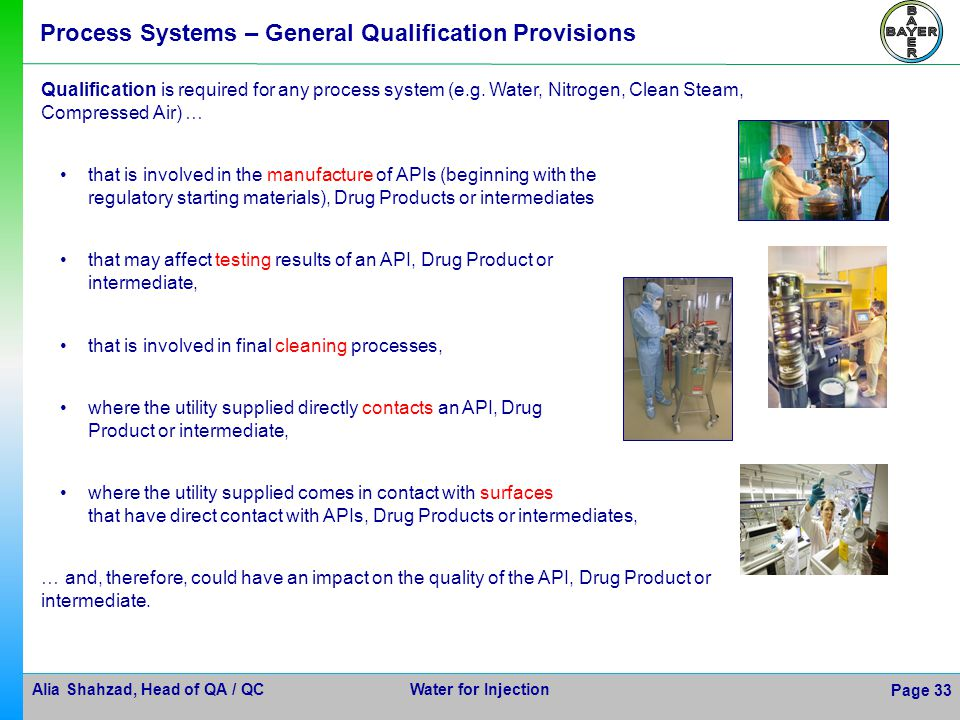 Process Systems – General Qualification Provisions