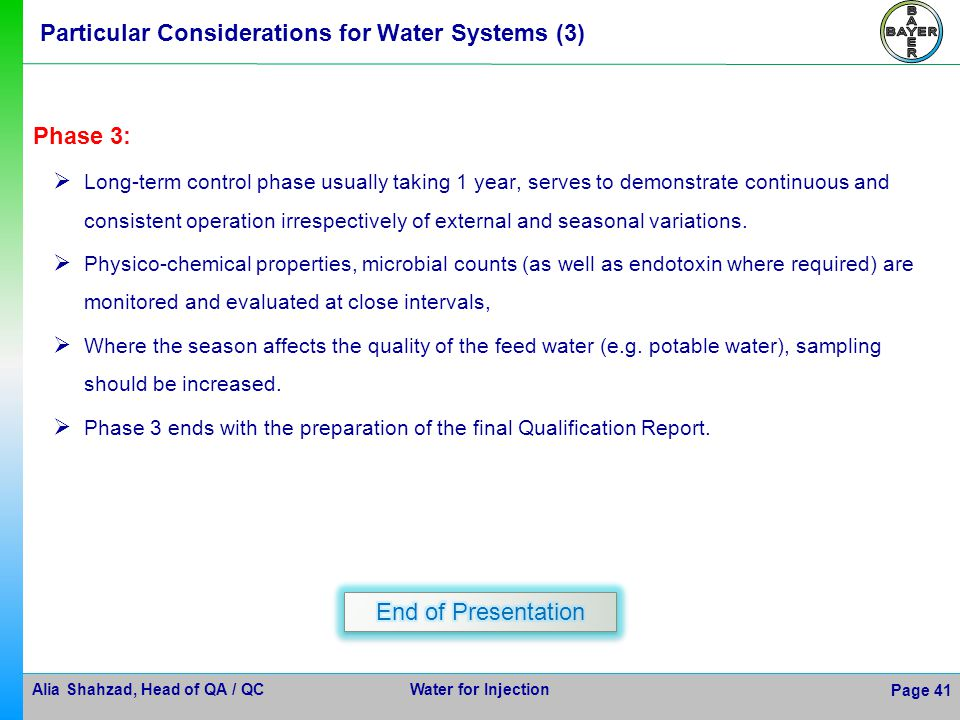 Particular Considerations for Water Systems (3)