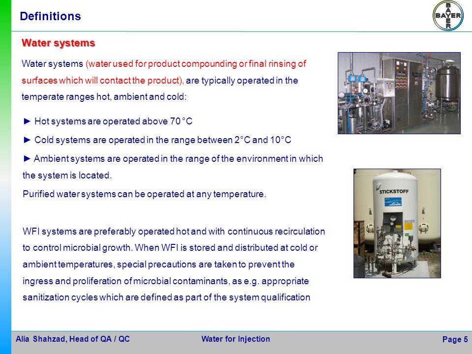 Definitions Water systems