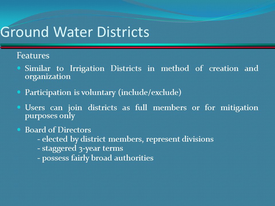 Ground Water Districts