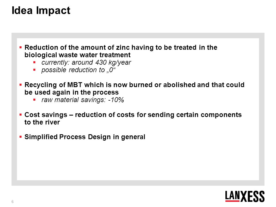 Idea Impact Reduction of the amount of zinc having to be treated in the biological waste water treatment.