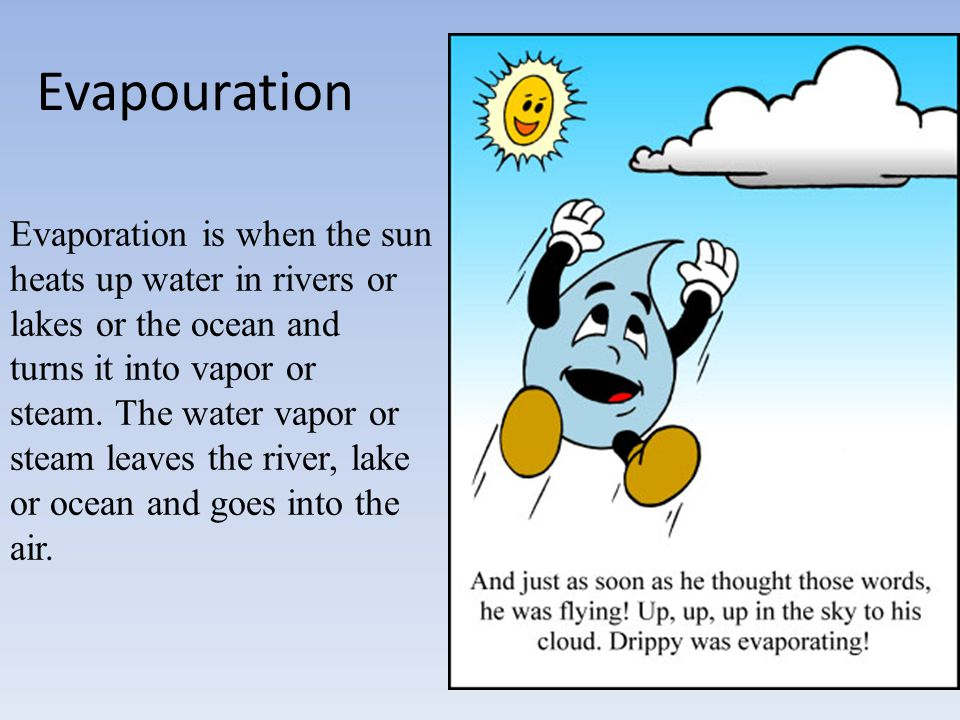 Evapouration Evaporation is when the sun heats up water in rivers or lakes or the ocean and.