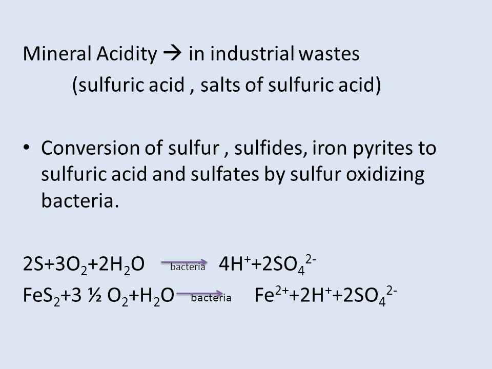 Mineral Acidity  in industrial wastes