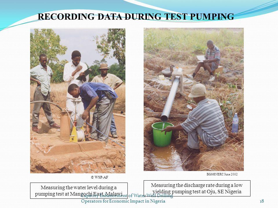 RECORDING DATA DURING TEST PUMPING