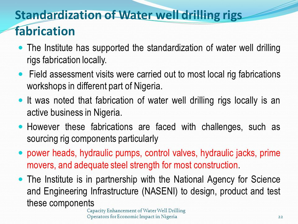 Standardization of Water well drilling rigs fabrication
