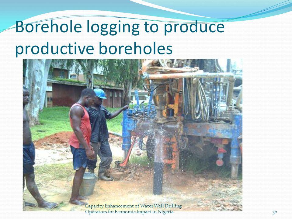 Borehole logging to produce productive boreholes