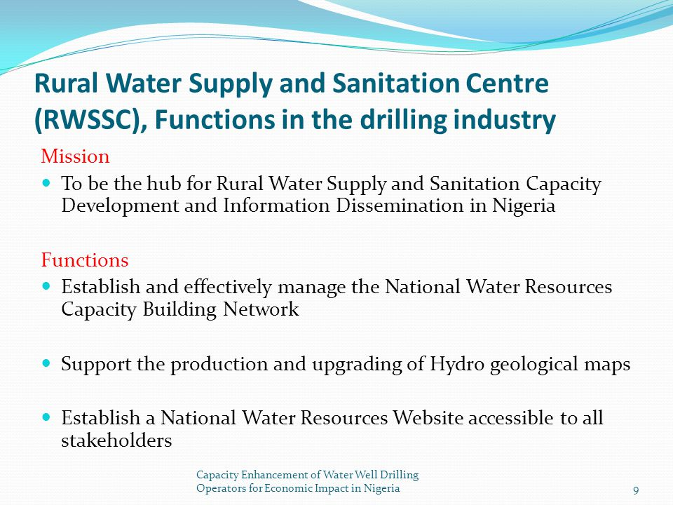 Rural Water Supply and Sanitation Centre (RWSSC), Functions in the drilling industry