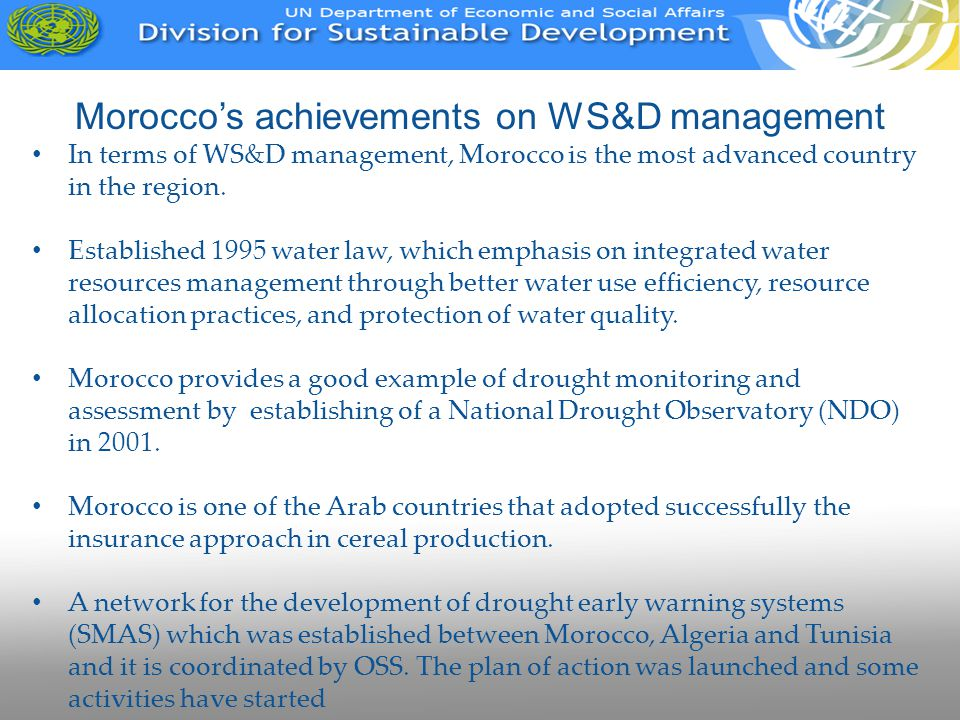 Morocco's achievements on WS&D management