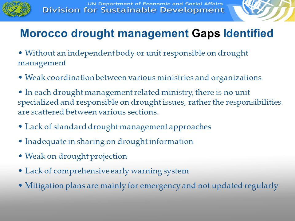 Morocco drought management Gaps Identified