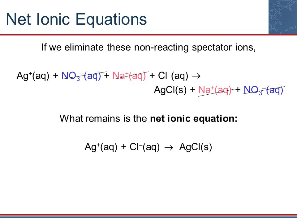 Net Ionic Equations If we eliminate these non-reacting spectator ions,