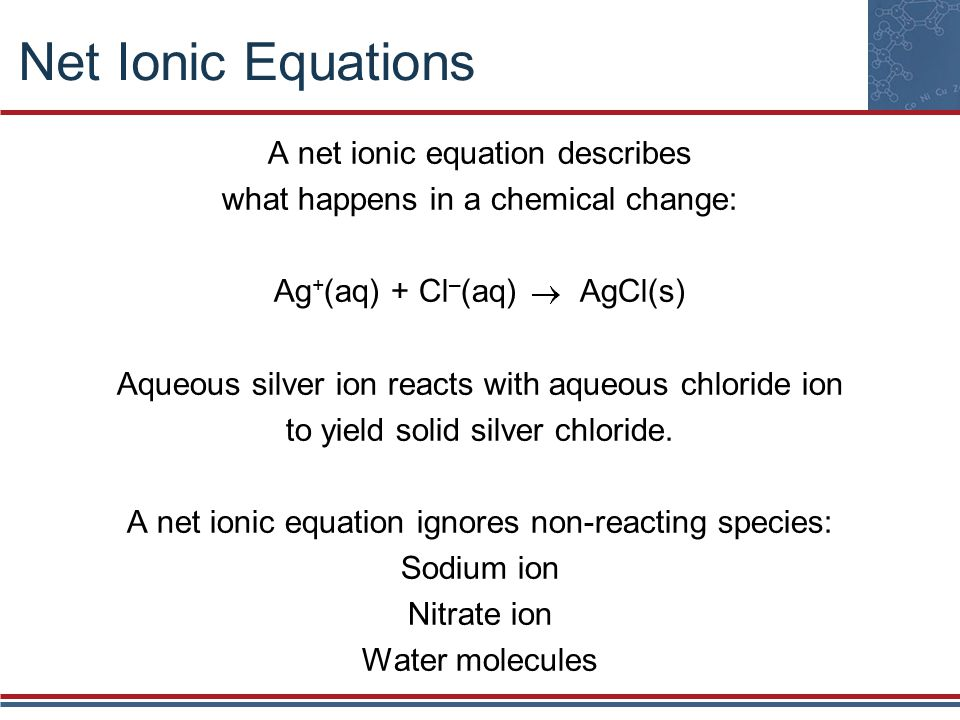 Net Ionic Equations A net ionic equation describes