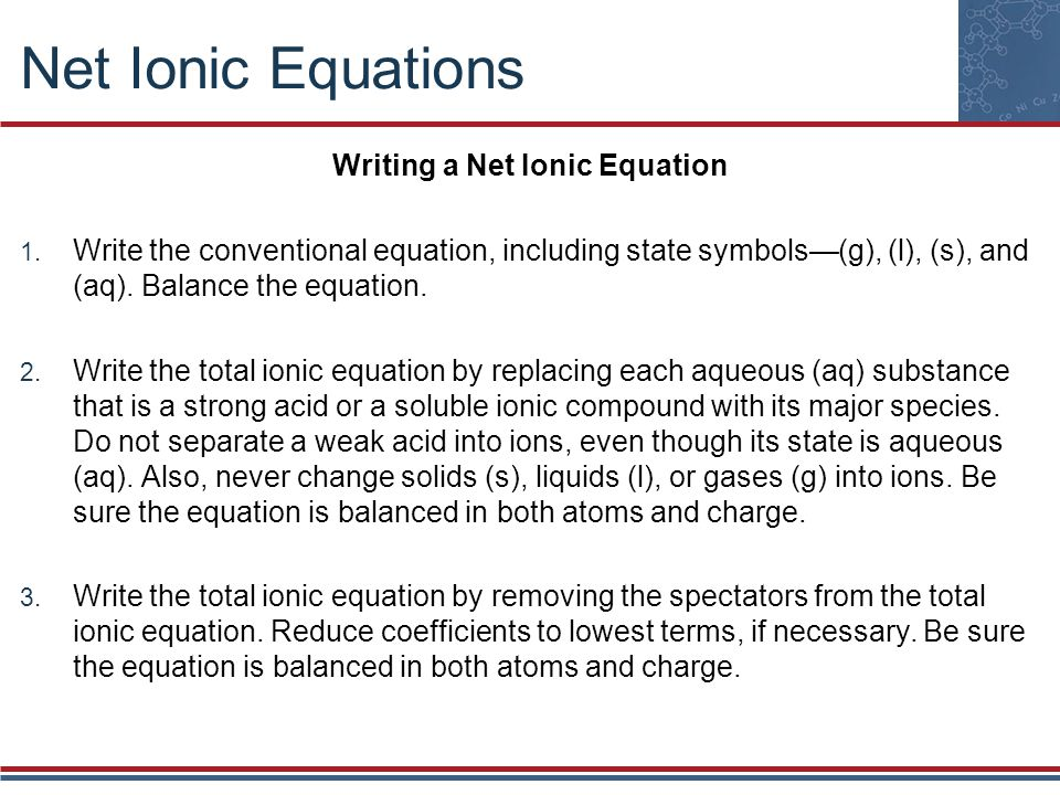 Writing a Net Ionic Equation