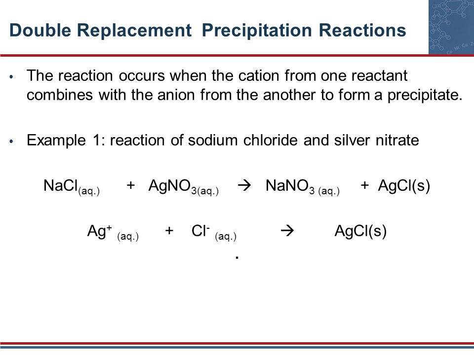 Double Replacement Precipitation Reactions