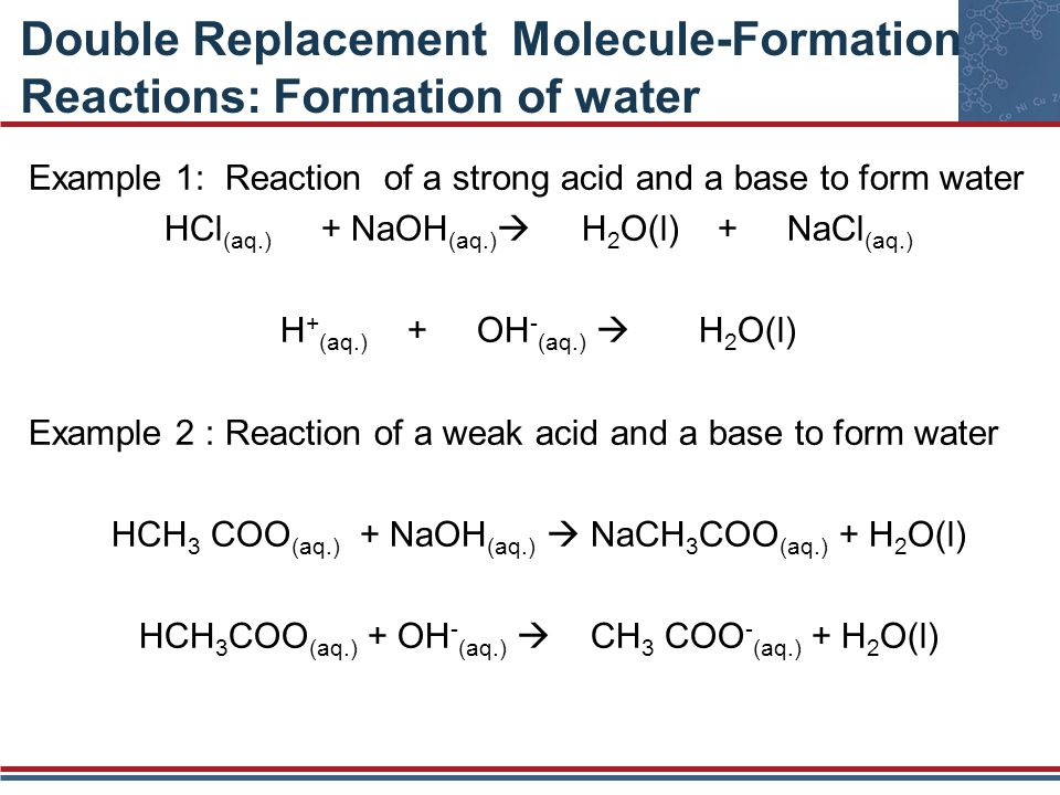 Double Replacement Molecule-Formation Reactions: Formation of water