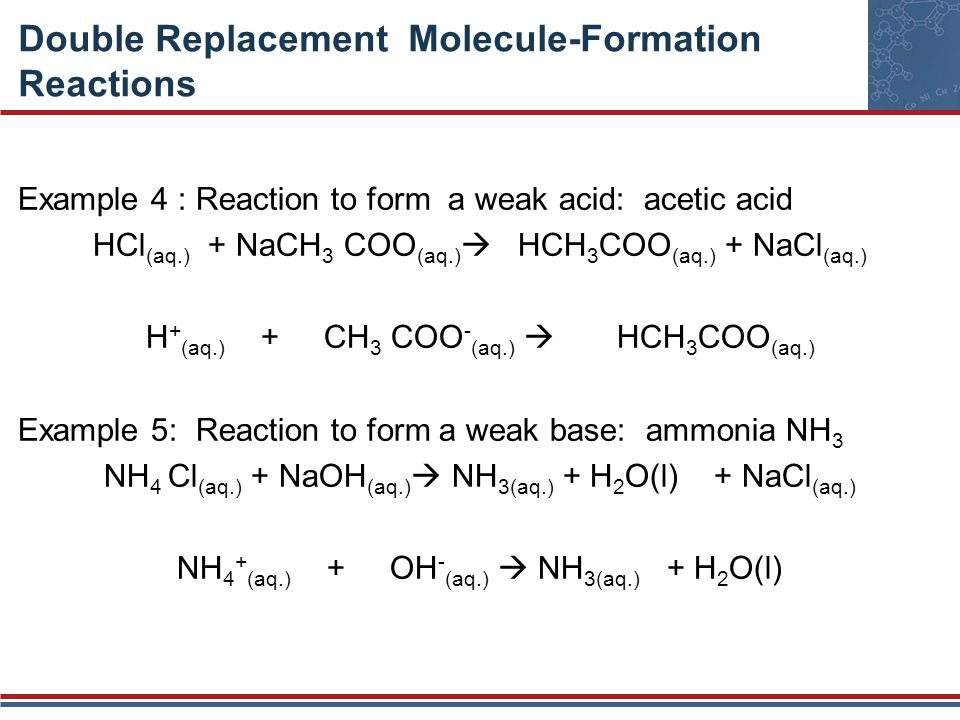 Double Replacement Molecule-Formation Reactions