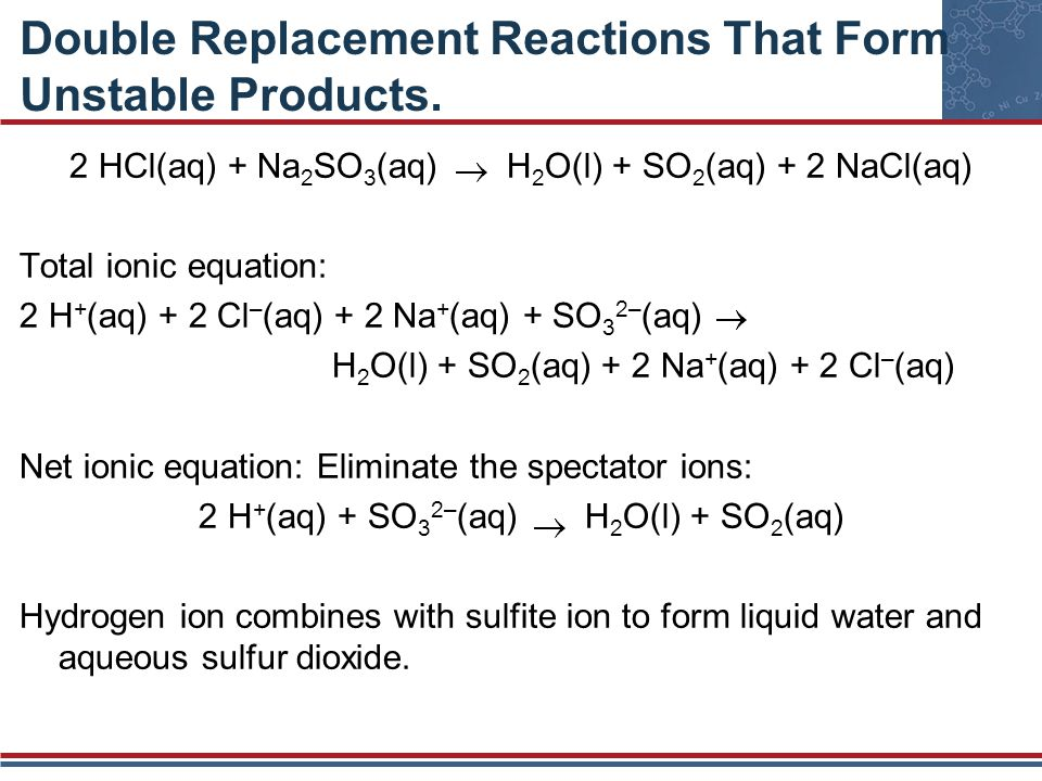 Double Replacement Reactions That Form Unstable Products.