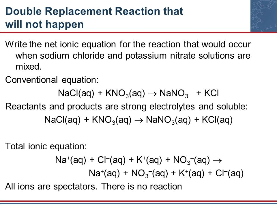 Double Replacement Reaction that will not happen