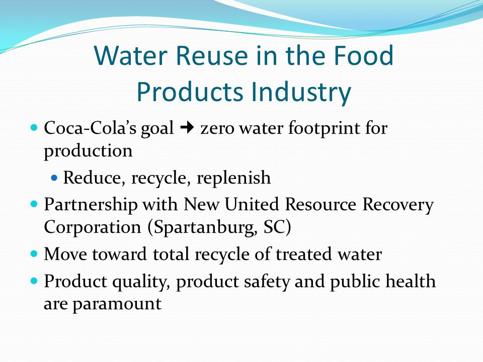 Water Reuse in the Food Products Industry