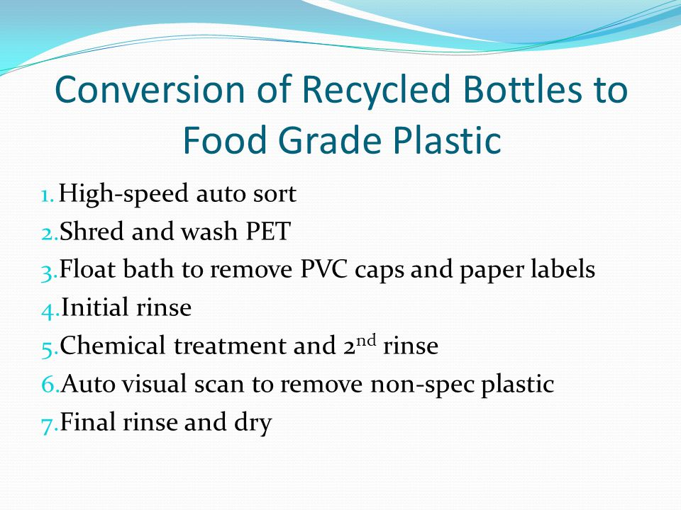 Conversion of Recycled Bottles to Food Grade Plastic