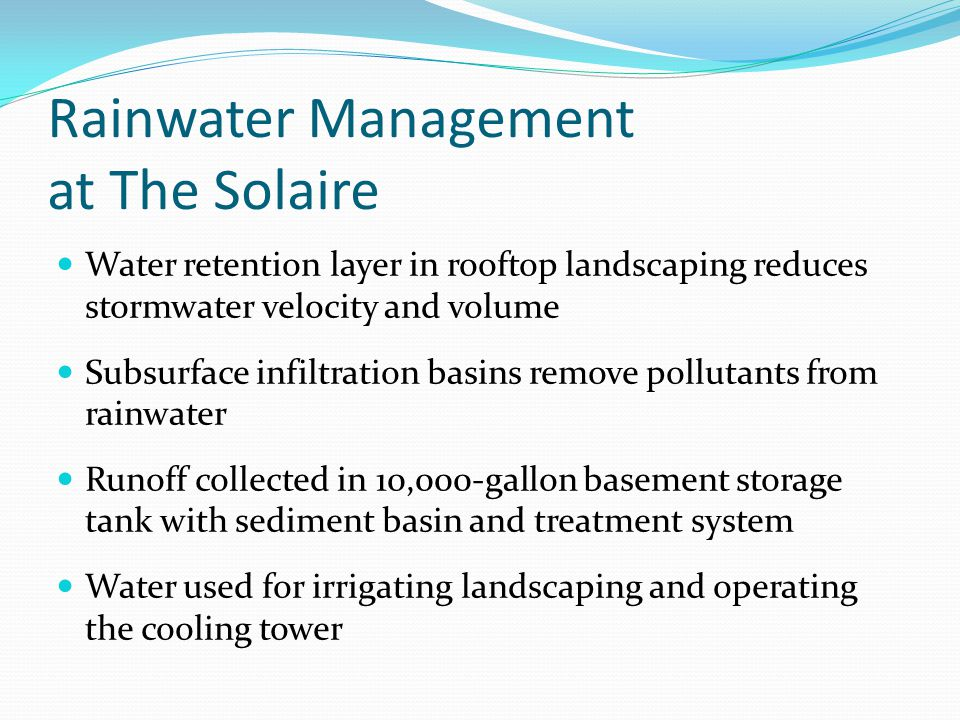 Rainwater Management at The Solaire