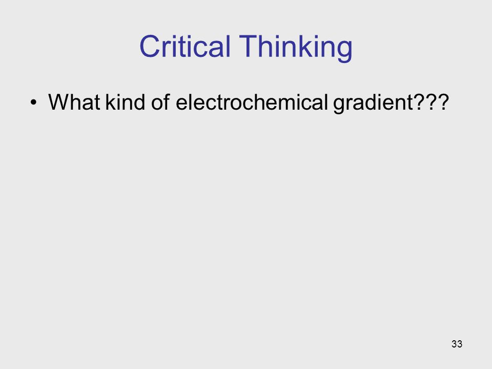 Critical Thinking What kind of electrochemical gradient