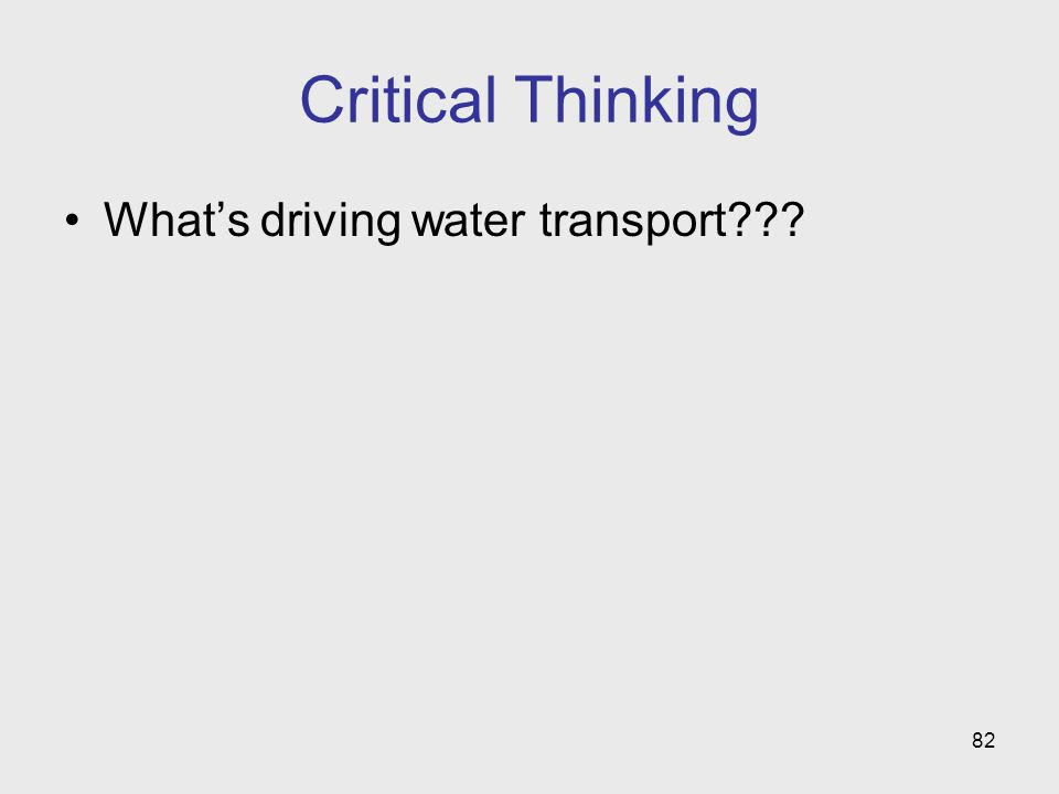 Critical Thinking What's driving water transport