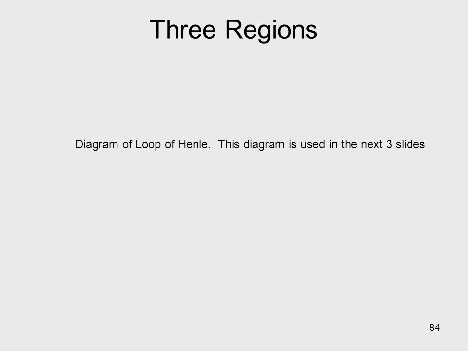 Three Regions Diagram of Loop of Henle. This diagram is used in the next 3 slides