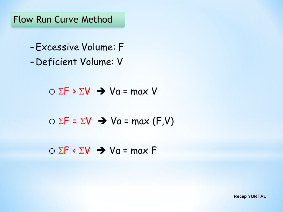 Flow Run Curve Method Excessive Volume: F Deficient Volume: V