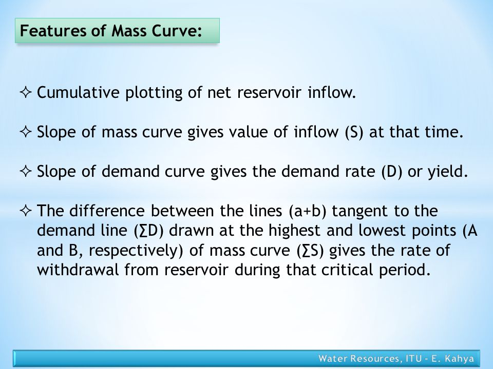 Features of Mass Curve: