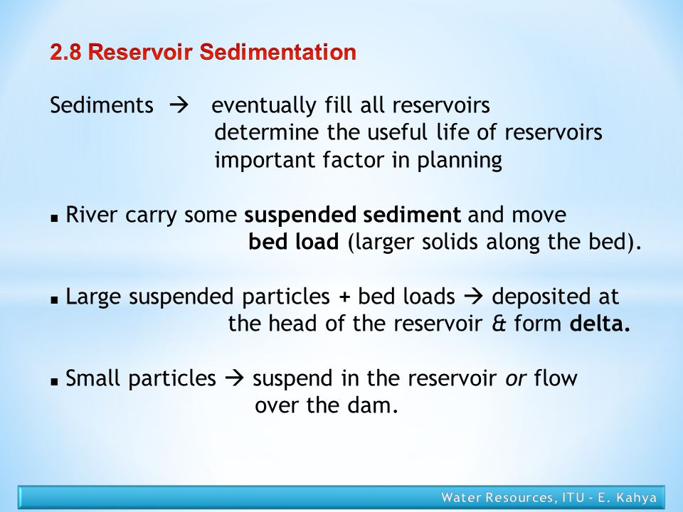 2.8 Reservoir Sedimentation