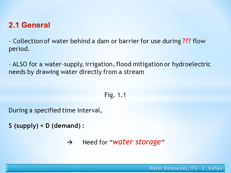  Need for water storage