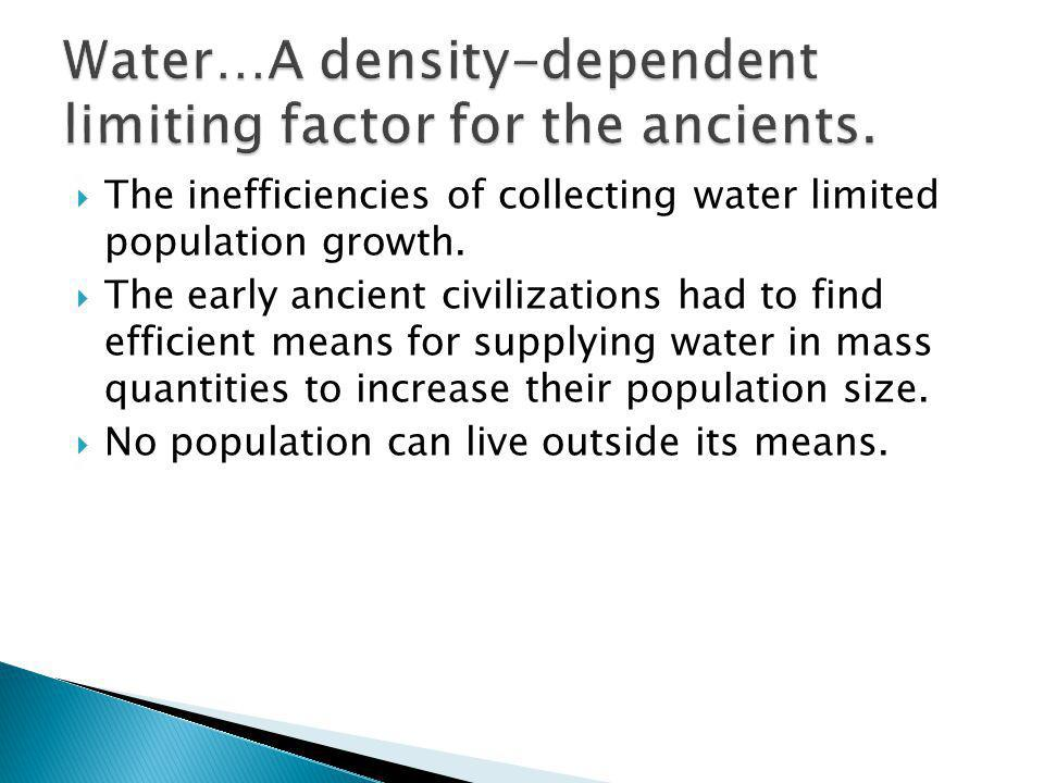 Water…A density-dependent limiting factor for the ancients.