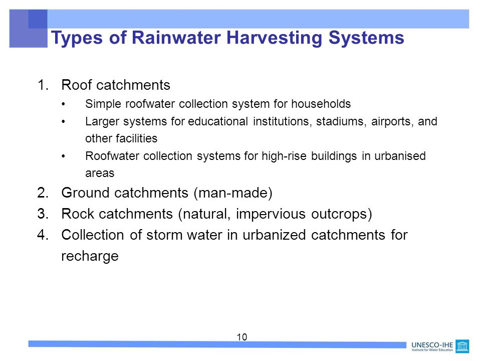 Types of Rainwater Harvesting Systems