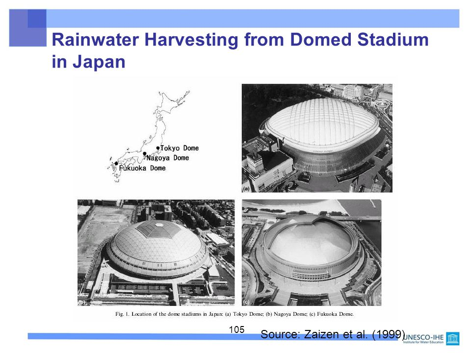 Rainwater Harvesting from Domed Stadium in Japan