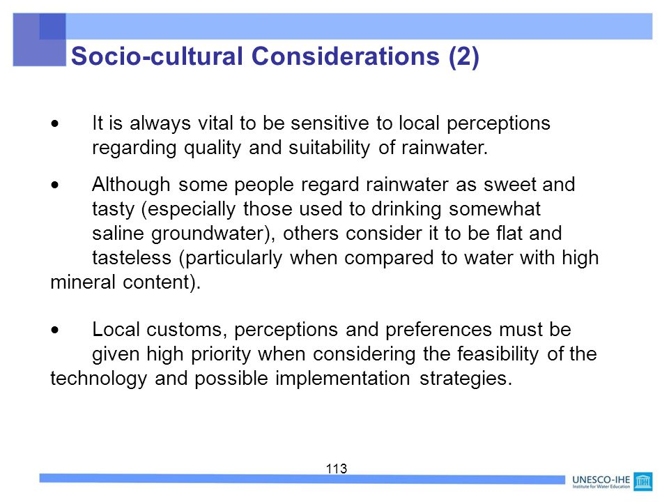 Socio-cultural Considerations (2)