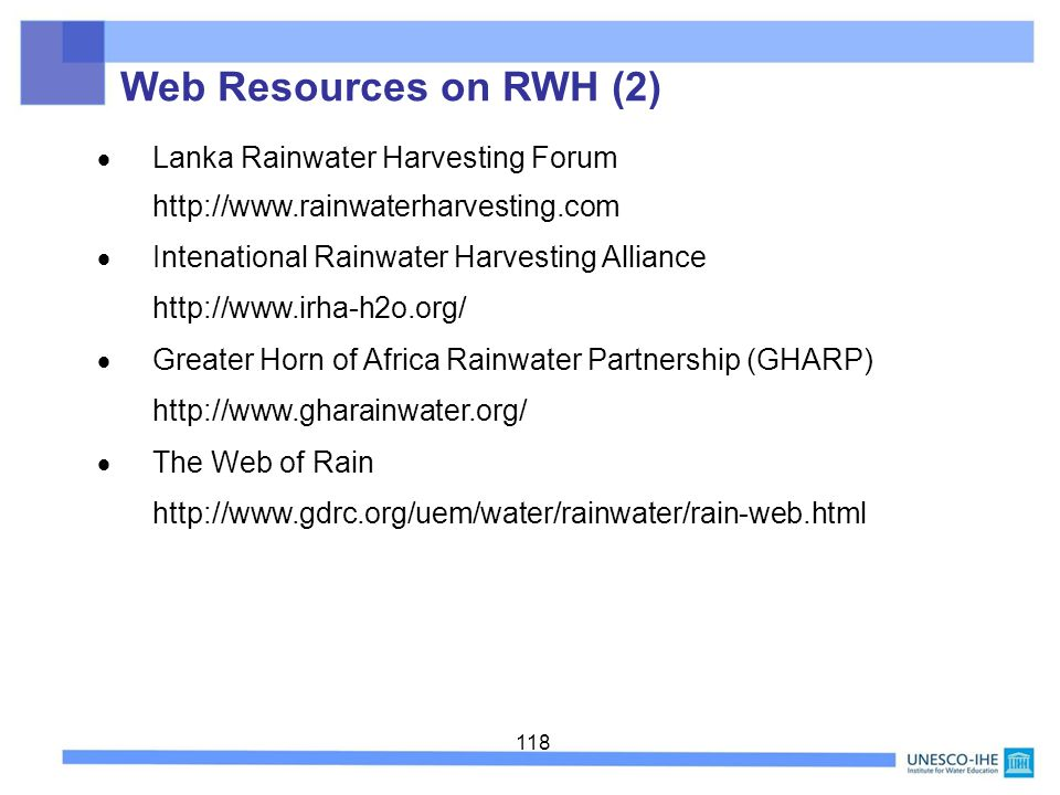 Web Resources on RWH (2)  Lanka Rainwater Harvesting Forum